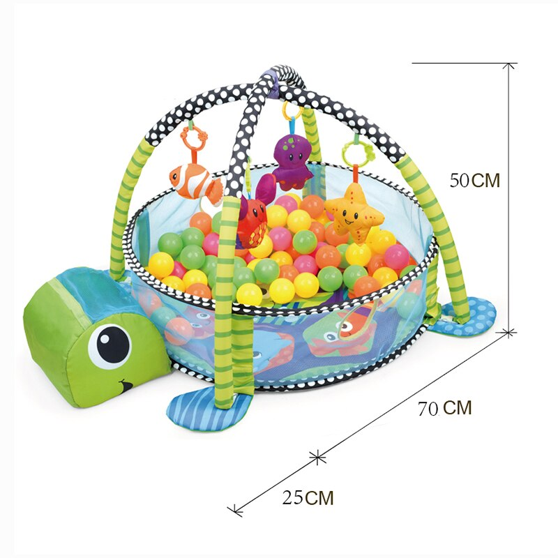 Baby 3 in 1 Fitness Frame Game Blanket Multifunctional Cartoon Play Crawling Mat Tortoise Lion Ocean Ball pool 0-18 Months Toy Uncategorized