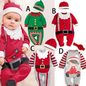Newborn Baby Boys Girls Winter Christmas Romper Santa Claus Girl Cosplay Costume Baby Gift Hooded Thicken Tracksuit Kids Clothes Tous les produits
