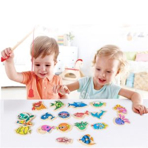 Wooden Magnetic Fshing Game Cartoon Marine Life Cognition Fish Rod Toys for Children Early Educational Parent-child Interactive Uncategorized
