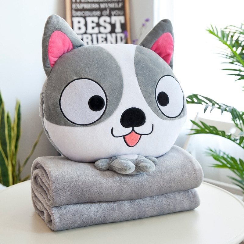 3 In 1 Soft Plush Cat Dog Bear Animal Cushion Toys Cute Cartoon Office Nap Pillow Baby Sleeping Flannel Air Conditioning Blanket Tous les produits
